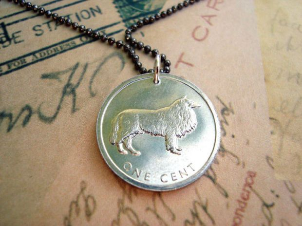 Lightweight Coin necklace, Commemorative series BORDER COLLIE, aluminum 2003 coin from Cook Islands - coin jewelry
