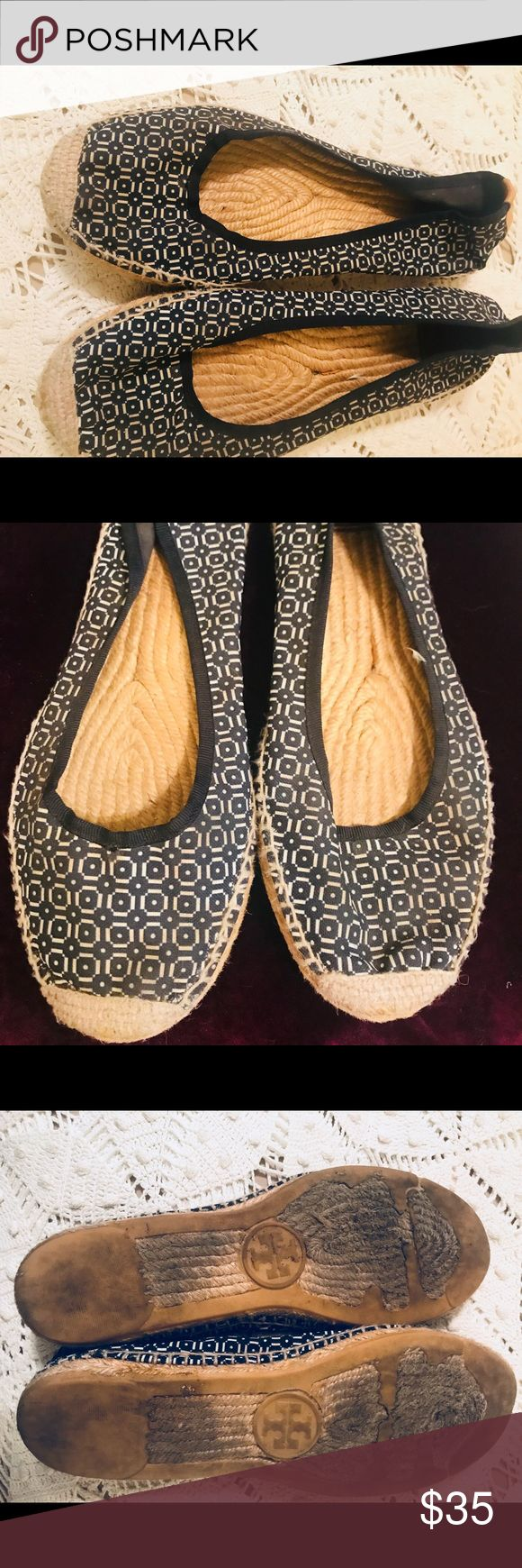 TORY BURCH Blue and White Ballet Espadrilles These shoes have been worn a lot. They are super comfy blue and white ballet style espadrilles from Tory Burch. Tory Burch Shoes Espadrilles