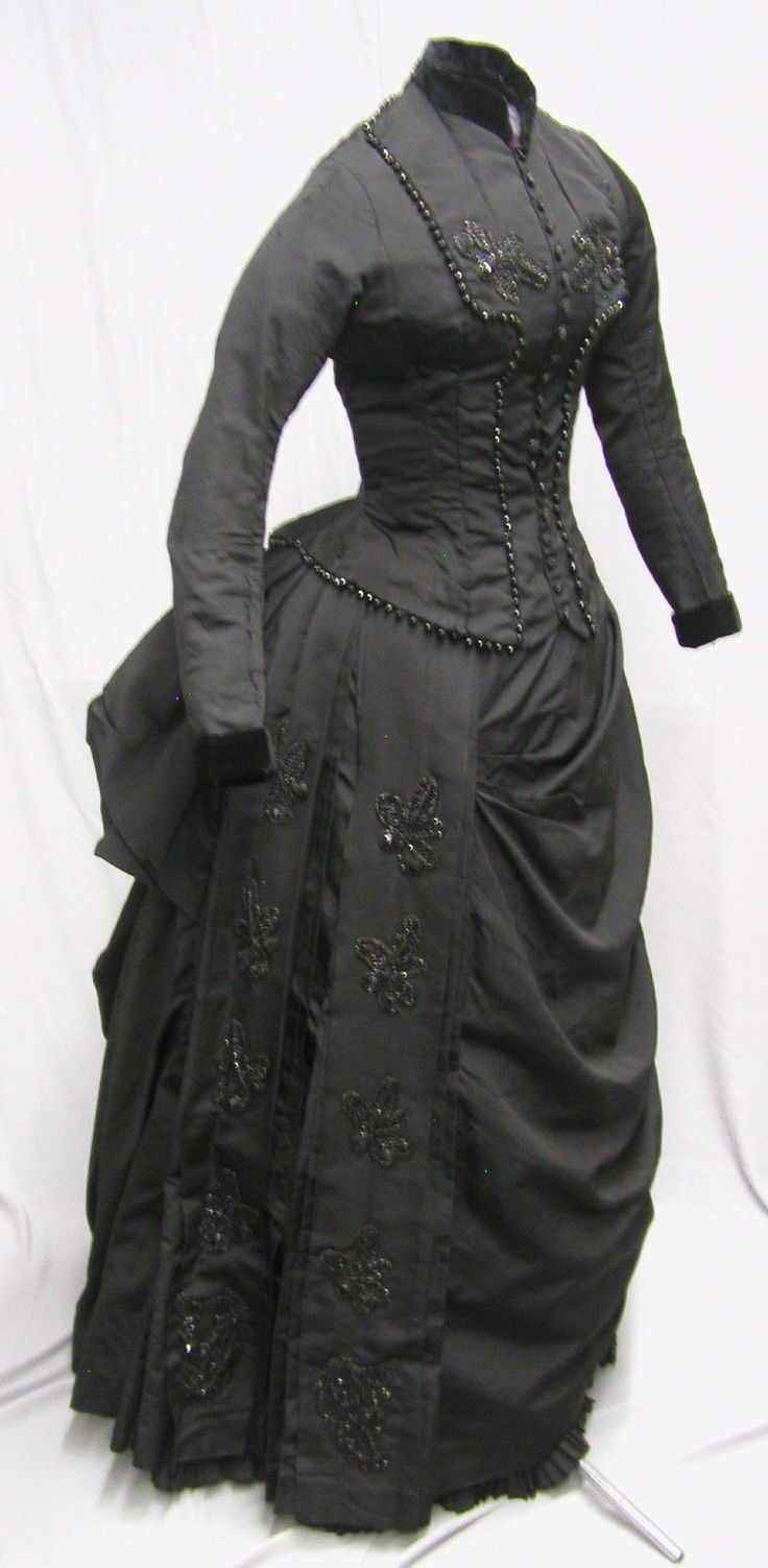 1880's Jet beaded Bustle Gown                                                                                                                                                                                 Plus