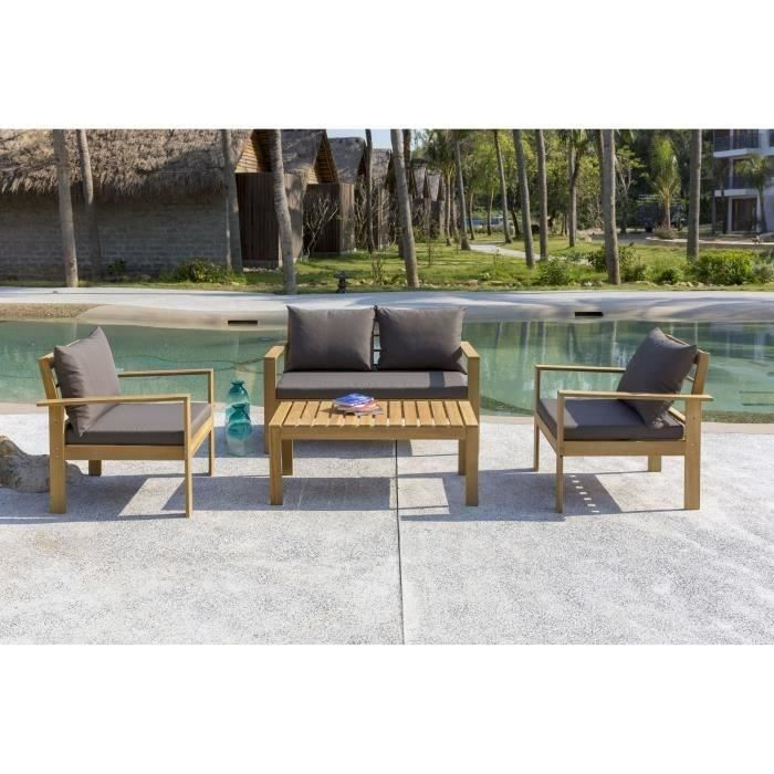 SPLIT Salon de jardin 4 places en bois d\'acacia - une banquette et ...