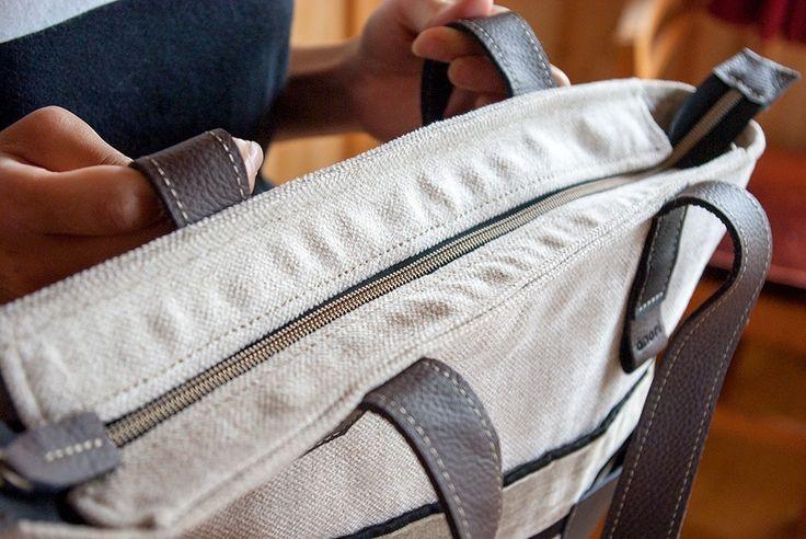 ファスナー付、丈夫なソファの生地 ホリゾンタル トートバッグの画像4枚目