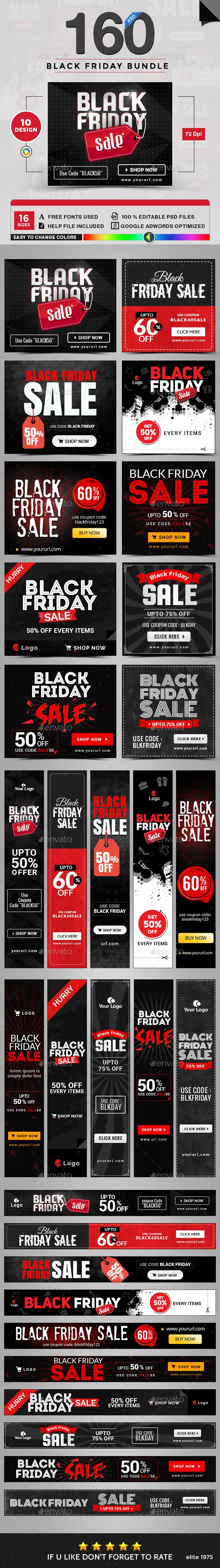 Black Friday Banners Templates PSD Bundle - 10 Sets - 160 Designs