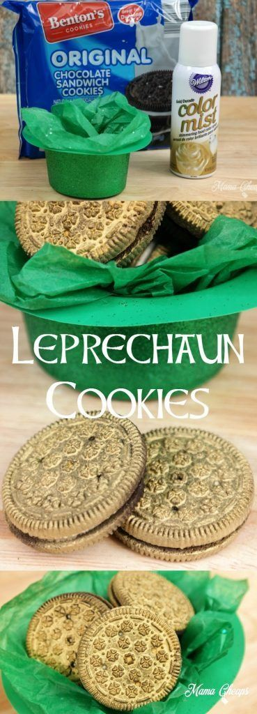 Spray Wilton Gold Color Mist to sandwich cookies to create fun Leprechaun Cookies for St. Patrick's Day! Project from http://mamacheaps.com