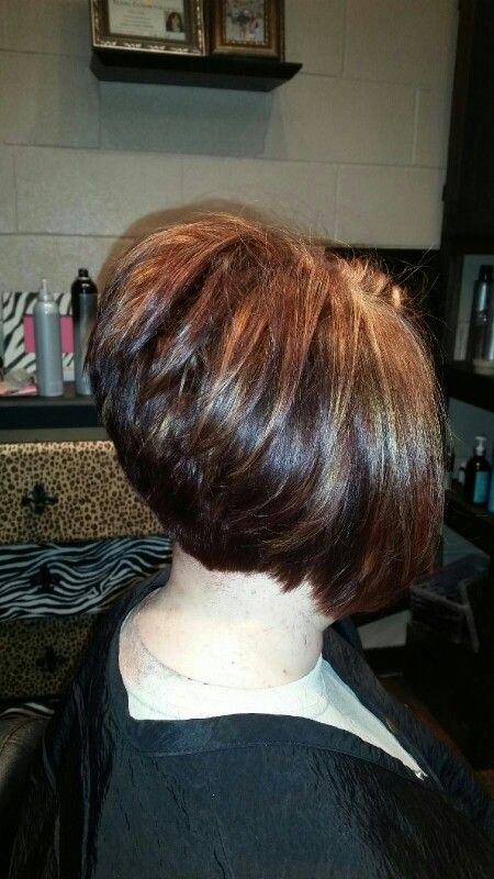 I have the best hair stylist EVER! Angled bob stacked high ...