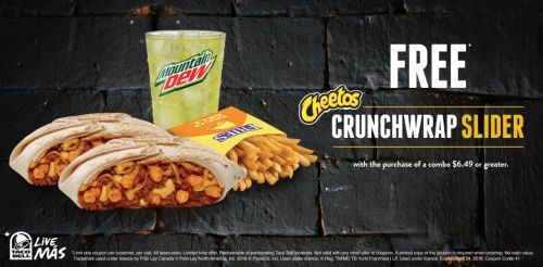Taco Bell Canada New Coupon: Get a FREE Cheetos CrunchWrap Slider When You Purchase a Combo $6.49 http://www.lavahotdeals.com/ca/cheap/taco-bell-canada-coupon-free-cheetos-crunchwrap-slider/72251