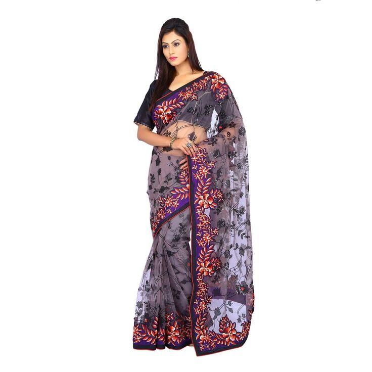 Indian Wedding Net Women Party Wear Bridal Black Saree with Unstitched Blouse #Milonee #NewDesignerSaree