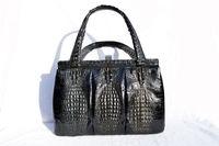 Dramatic BLACK 1960's TRIPLE HORNBACK Crocodile Skin Kelly Bag