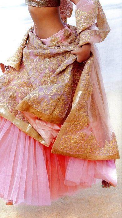 Pink & gold bridal lehenga.