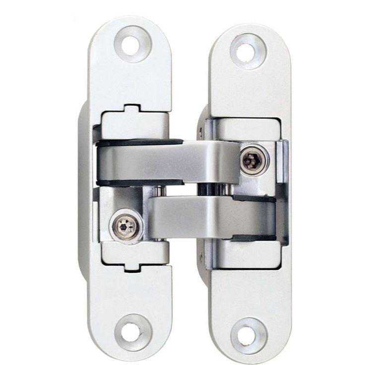 Paumelles invisibles série 3D à encastrer pour portes d'intérieur, angle d'ouverture jusqu'à 180° et pour porte d'épaisseur 30 mm minimum et 40 mm minimum.