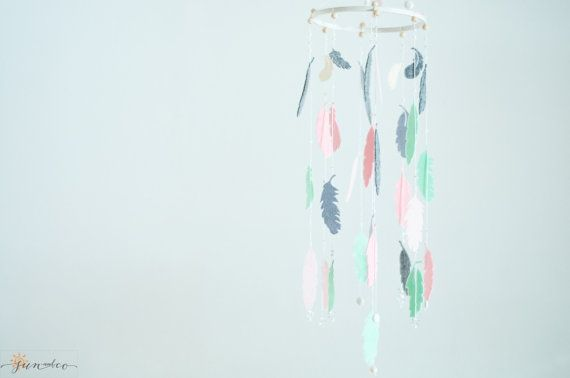 Gray Pink Mint Nursery-Baby Feather Mobile-Dream by SUNandCo