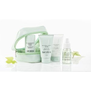 Feet Travel Kit    Share the gift of perfect summer feet with this pack of products designed to cool, deodorise and condition.    This handy toiletry bag contains travel sizes of Sh'Zen's top foot products. The Sh'Zen Cooling Spritzer (50ml) brings instant relief to tired, hot feet; the Deodorising Powder (50g) prevents foot odours and perspiration; the Moisturiser (50ml) softens and freshens feet; and the Overnight Balm (50ml) cures hard, rough and unattractive skin.
