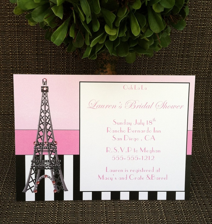 107 best images about paris party on pinterest themed for Paris themed invitations bridal shower