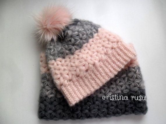 Crochet hat and scarf set Crochet pink grey by CrisColourCrochet