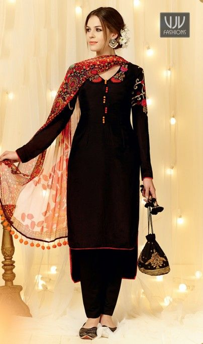 Intricate Black Embroidered Work Designer Straight Salwar Suit Looking amazing with attachment of black cotton satin designer straight salwar suit. This attire is encrafted with embroidered and resham work. Comes with matching bottom and dupatta.