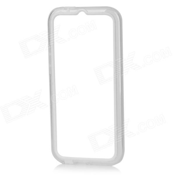 Color: White + Translucent; Brand: N/A; Model: N/A; Material: TPU + PC; Quantity: 1 Set; Shade Of Color: White; Compatible Models: HTC One M8; Packing List: 1 x Bumper frame; http://j.mp/1mc1PTf
