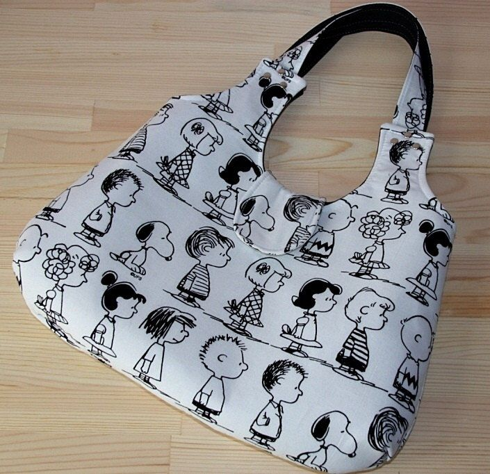 charlie brown snoopy different cartoon caracters prints purse / eco-friendly black white shoulder bag/tote bag/large diaper by leyyabags on Etsy https://www.etsy.com/listing/85544526/charlie-brown-snoopy-different-cartoon