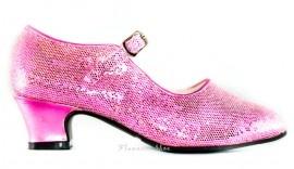 Spaanse Schoenen Pink Glitter