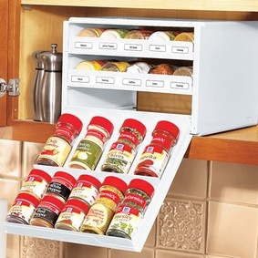 Spice Organizers  @ Fresh Finds - have these in my cabinet over my stove.  They fit so nice and have things right at hand.