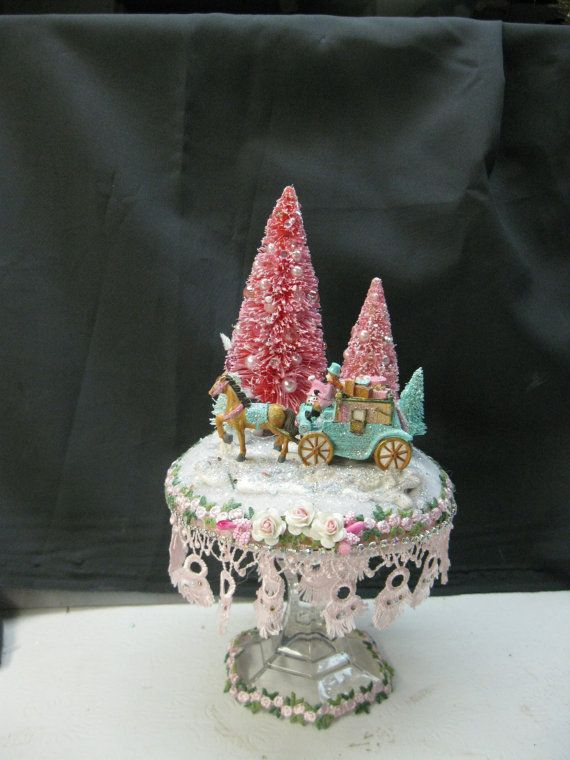 Shabby chic pink and aqua Christmas vignette with by KaysStudio