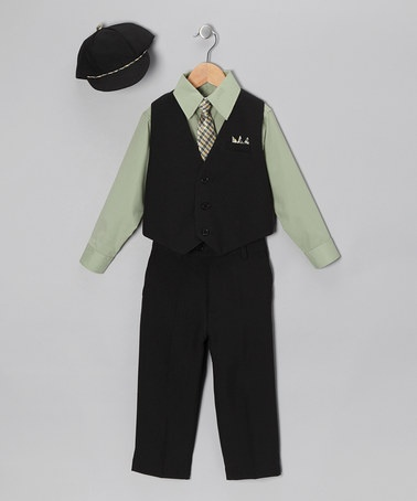 Take a look at this Black & Green Vest Set - Infant & Toddler by Silver Suit on #zulily today!