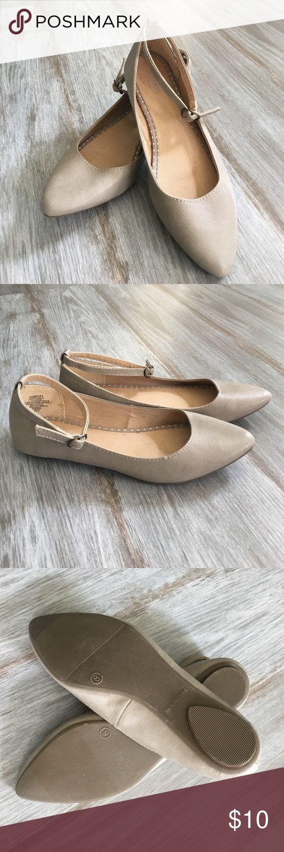 Neutral flats Bone, thin ankle strap flat; worn once Old Navy Shoes Flats & Loafers