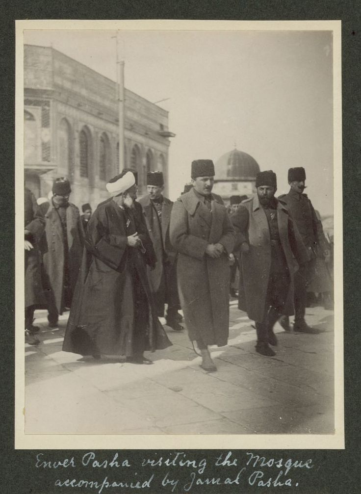 Enver Pasha visiting the Mosque accompanied by Jamal [Cemal] Pasha [Dome of the Rock, Jerusalem], 1916. LC-DIG-ppmsca-13709-00069 (digital file from original on page 19, no.68)   Library of Congress