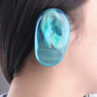 Wish | 2PCS Clear Silicone Ear Cover Hair Dye Shield Protect Salon Color Blue New (Color: Blue)