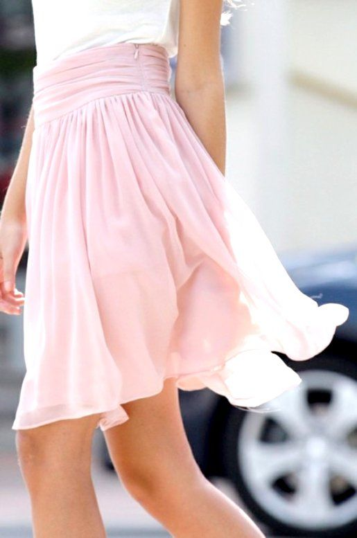Flowing pink skirt
