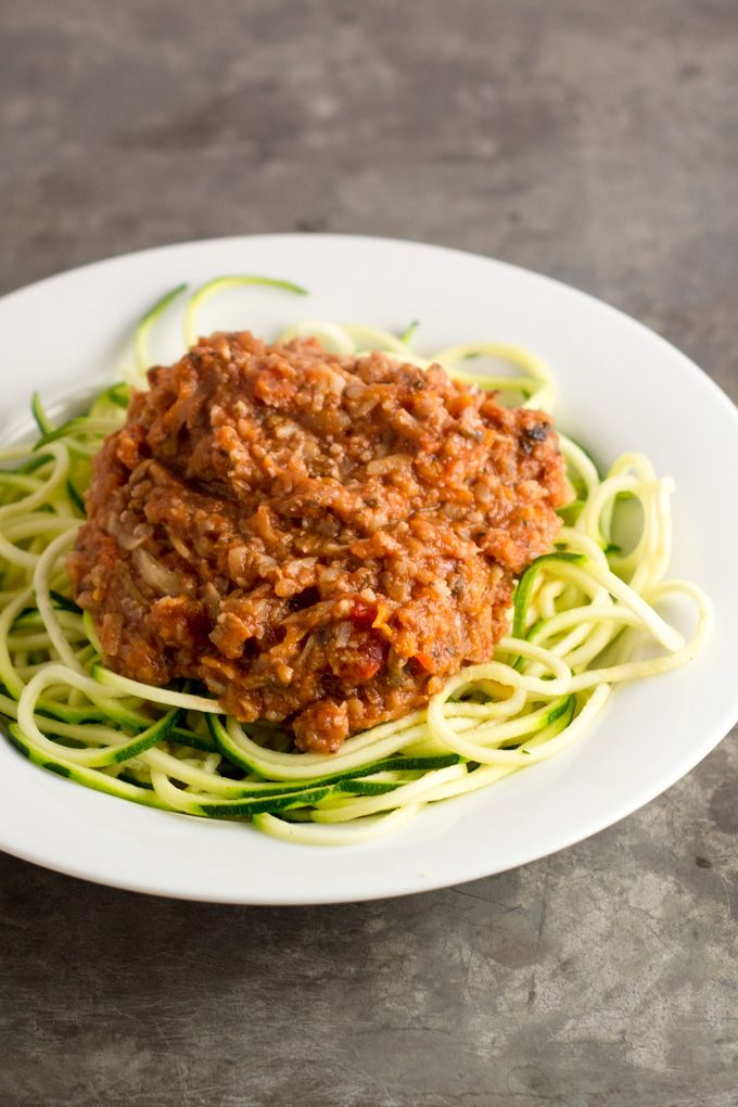 "This vegetable bolognese has all the goodness of pasta with a chunky, ""meaty"" marinara sauce, but is made entirely of vegetables and nuts!"