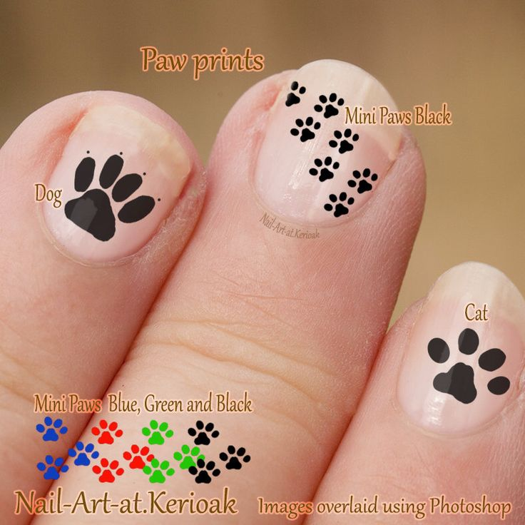 Pawprint Nail Art, Dog and Cat Nail Art Stickers,  fingernail stickers,  finger nail art,  mini paws, cat and dog decals, paw prints. by Kerioak on Etsy https://www.etsy.com/listing/221709550/pawprint-nail-art-dog-and-cat-nail-art