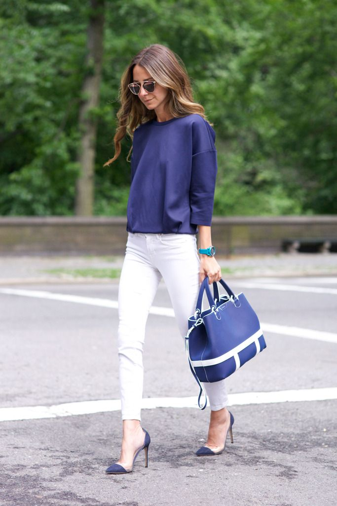 Emporio Armani watch, | Gianvito Rossi  shoes | silk navy sweatshirt, white skinnies