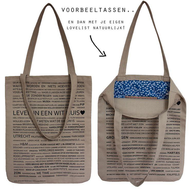 Lovelist - LoveLifeBag | Jouw unieke handgemaakte tassen. Met je eigen lovelist