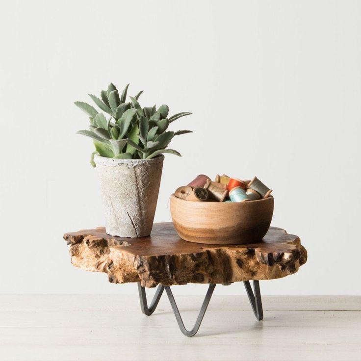 Wood Slab Pedestal