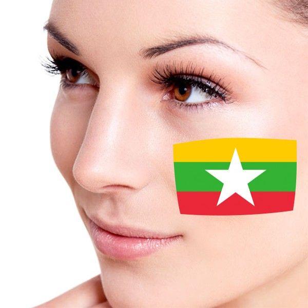 Look! My DIY : Flag of Myanmar facial tattooo , free shipping 2016 | diythinker.com