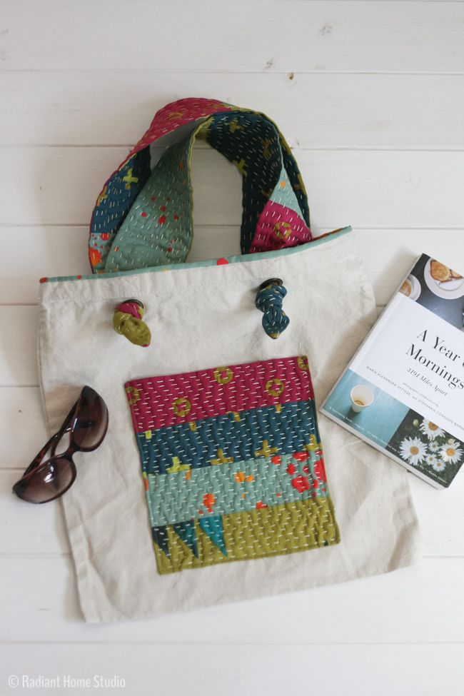 Good Add Kantha Stitched Straps {Tote Bag Upgrade
