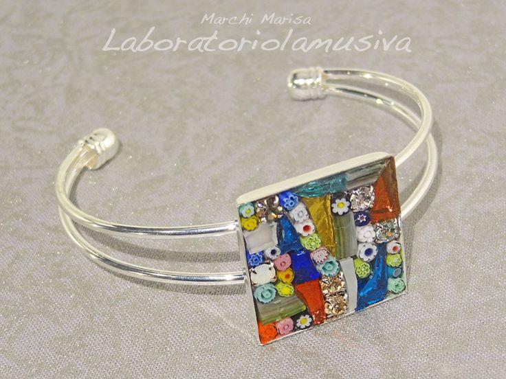 bracciale rigido quadrato mosaico multicolor