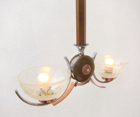 RARE Vintage Art Deco Copper and Wood light, restored; Large Copper ceiling lamp from 1930s