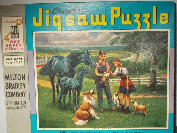Puppies for Sale Vintage Jigsaw Puzzle Croxley 500 Piece Walter Haskell 1950s