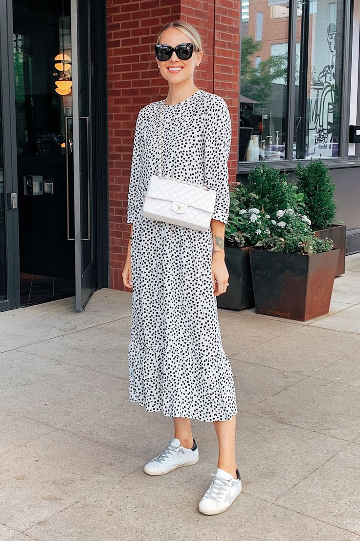Fashion Jackson Wearing Zara Black and White Polka Dress Golden Goose Sneakers W…