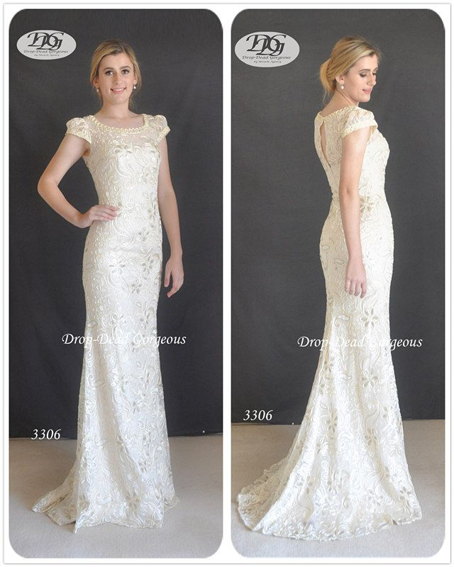 Lux Lace Wedding Dress: Luxury beaded lace gown with an elegant pattern neckline and a cap sleeve.    #DDGMA #DropDeadGorgeous #MiracleAgency #Weddingdress #weddings www.miracleagency.net