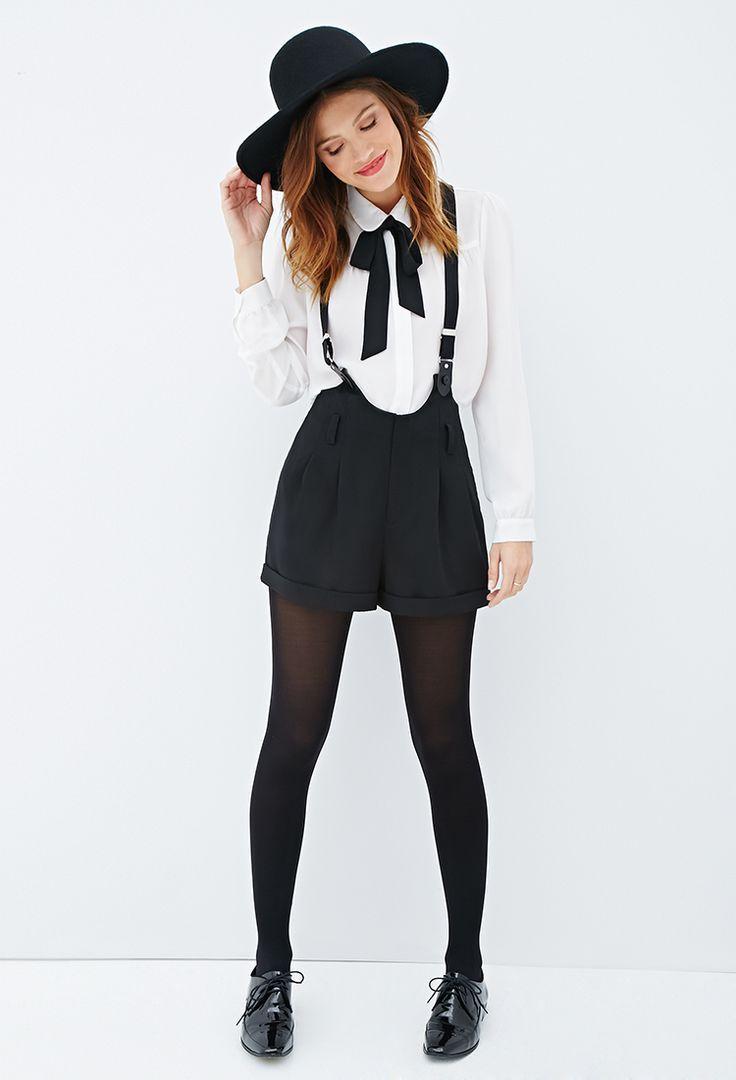 Woven Suspender Shorts   FOREVER21 - #FOREVER21 #shorts #sunglasses #Suspender #... 11