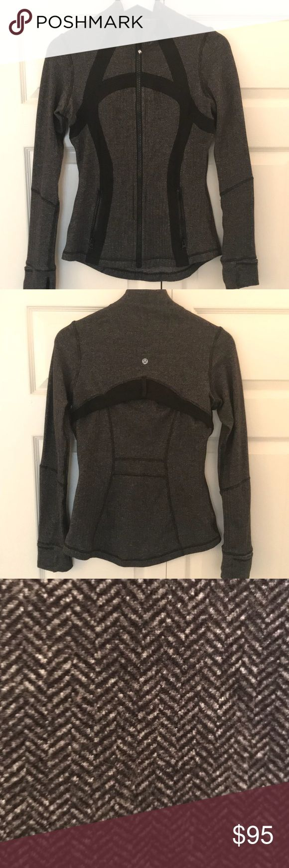 """Lululemon Herringbone Define Jacket Lululemon Herringbone Define Jacket. VEUC. Rare pattern! They no longer sell the define jacket in this pattern! No signs of wear other than very very minimal pills on the sleeves. Size 6. Rip tag was cut off but that's the only """"flaw"""". Open to reasonable offers lululemon athletica Tops Sweatshirts & Hoodies"""