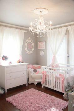 Wandfarbe Hellgrau Gardinen Rosa Babyzimmer