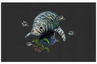 "Manatee - Sea Mammal - Black - Door and Welcome Mat by Express Yourself Mats. $24.88. Made in USA. Great Gift Idea!. Personalization Available (choose above) - EMAIL TEXT TO SELLER AFTER CHECKOUT. Non-Skid Backing. Door Mat Size 27""x18"". Enjoy the Manatee design heat pressed on this light-weight, low pile, woven polyester door mat. This decorative welcome mat measures 27 x 18 inches, is 1/8 inch thick and features a non-skid latex coating on the back with black fabric piping..."