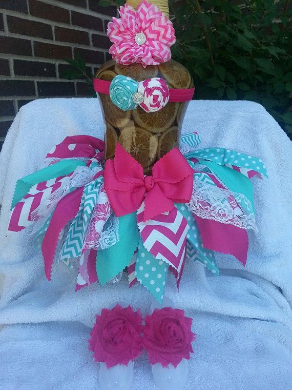 Chevron Fabric ScrapTutu W/ Matching Headband  And Infant Barefoot Sandals on Etsy, $50.00