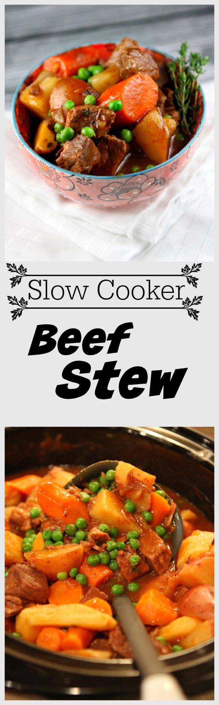 Slow Cooker Beef Stew Recipe - a classic beef stew recipe made in the Crock Pot.  Plus, I share a secret for making sure your veggies don't get mushy in the slow cooking process!