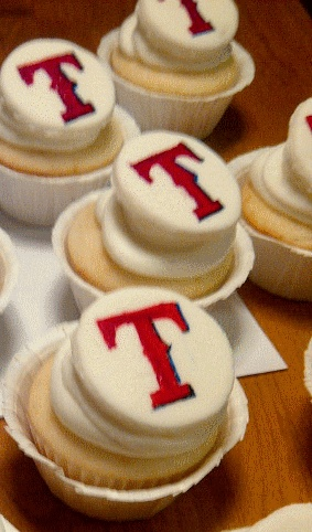 Texas Rangers cupcakes. Would be good for grooms cake!