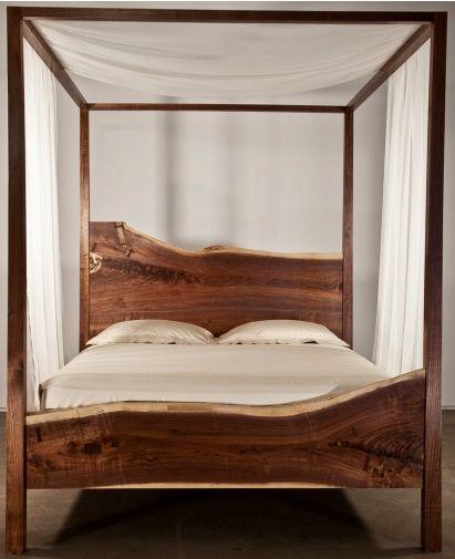 Best 25 log bed frame ideas on pinterest for Log canopy bed frames