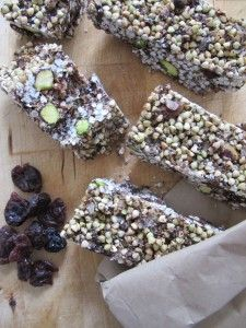 RAW BUCKWHEAT BARS  ½ cup coconut oil 3tbsp carob powder (unsweetened) or cacao powder 2tbsp maple syrup (Opt: rice malt syrup) 1 cup LOVING EARTH buckinis ¼ cup rice flakes (Opt: quinoa flakes) ¼ cup chia seeds ¼ cup pistachios (Opt: nuts or seeds of choice) ¼ cup dried unsweetened cherries (Opt: cranberries or dried fruits of choice)