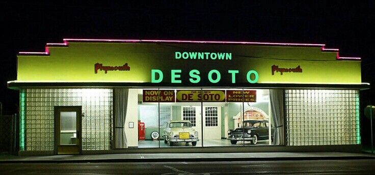 Downtown DeSoto in the Fifties. Vintage muscle cars, Car